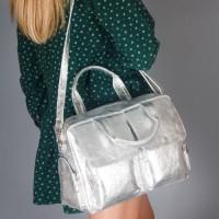 Женская кожаная сумка LL №901714 серебро