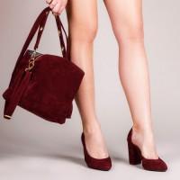 Женская сумка замшевая LL №901804 бордовый