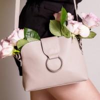Кожаная женская сумка LL №901824 бежевый