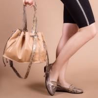 Женская сумка кожаная LL №901975 бежевый