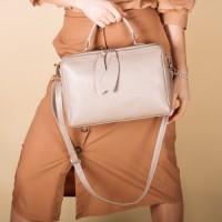 Кожаная сумка женская LL №902508 бежевый