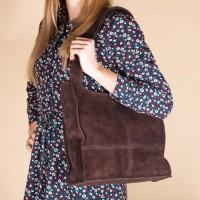 Замшевая женская сумка LL №902584 коричневый