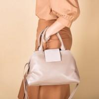 Кожаная женская сумка LL №902592 бежевый