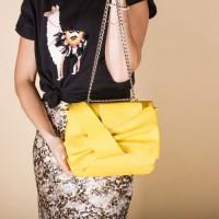 Кожаная сумка женская LL №902602 желтый