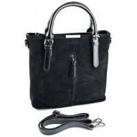 Кожаная сумка с комбинацией замши Parse №3061-1 Черный