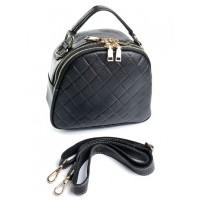 Стеганый кожаный клатч женский Parse 323 Black