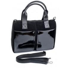 Замшевая сумка с лаковыми карманами Parse №7565 черный
