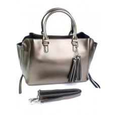 Кожаная женская сумка Parse №8132 серебро
