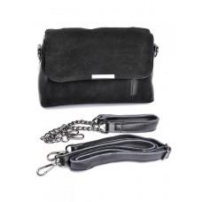 Замшевая сумка с комбинацией кожи Parse №A3016 Черный