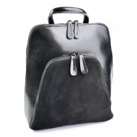 Сумка рюкзак из кожи и замши Parse №A511-2 Черный