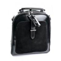 Рюкзак из натуральной кожи и замши Parse A7055-2 Черный