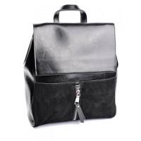 Кожаный  рюкзак с комбинацией замши Parse №B6056 Черный