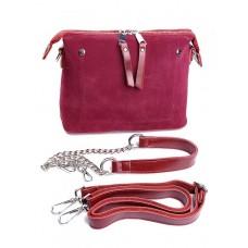 Кожаная сумка с комбинацией замши Parse №B7092 Красный