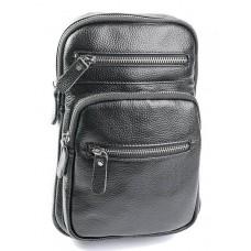 Кожаная сумка-слинг мужская Parse №8791 черный