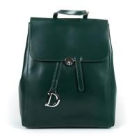 Кожаный рюкзак на клапане женский Alex Rai 360 green
