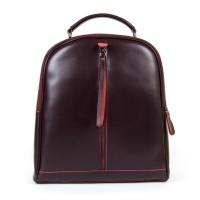 Женский кожаный рюкзак на молнии Alex Rai 8694-3 wine-red