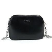Женский кожаный клатч с металлической цепочкой Alex Rai 8701 black