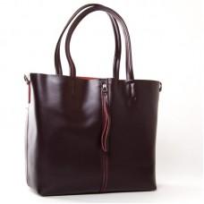 Большая сумка из натуральной кожи ALEX RAI 8704-220 wine-red