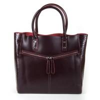 Большая кожаная женская сумка  Alex Rai 8713-12 wine-red